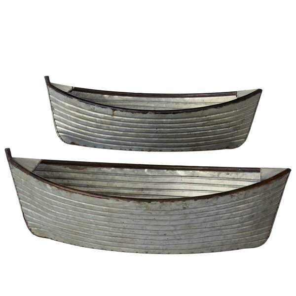 Albinson Galvanized Boat 2-Piece Metal Planter Box Set by Gracie Oaks