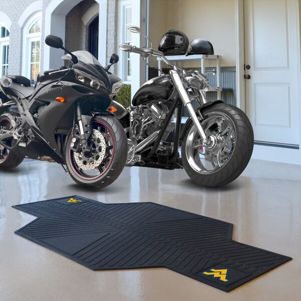 NCAA West Virginia University Motorcycle Motorcycle Garage Flooring Roll in Black by FANMATS