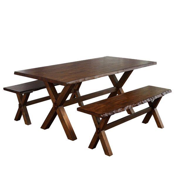 Tiggs 3 Piece Solid Wood Dining Set by Millwood Pines Millwood Pines