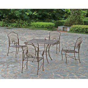 Cast iron patio furniture sets wayfair snowberry 5 piece iron patio dining set watchthetrailerfo