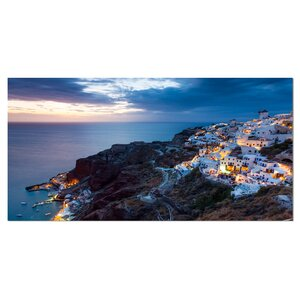 'Night Shot Oia Santorini Greece' Photographic Print on Wrapped Canvas by Design Art