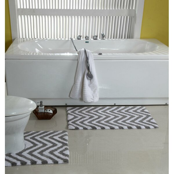 Teichmann 2 Piece Chevron Pedestal Designer Plush Bath Rug Set (Set of 2) by Latitude Run