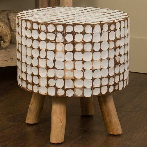 Cassia Teak Stool in White Wash by Jeffan