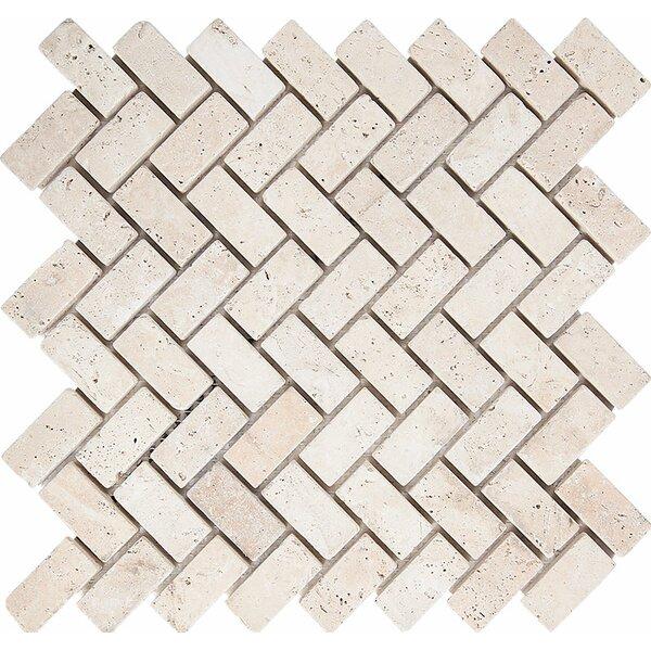 Tumbled Herringbone 1 x 2 Stone Mosaic Tile in Ivory by Parvatile