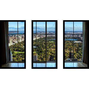 'New York Central Park I Window' 3 Piece Framed Photographic Print Set by Picture Perfect International
