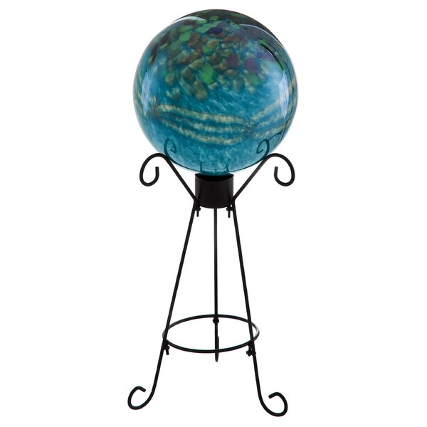 Turquoise Metallic Gazing Globe by Evergreen Flag & Garden