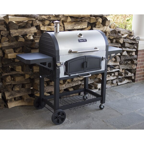 Dual Chamber Charcoal Grill with Side Shelves by Dyna-Glo