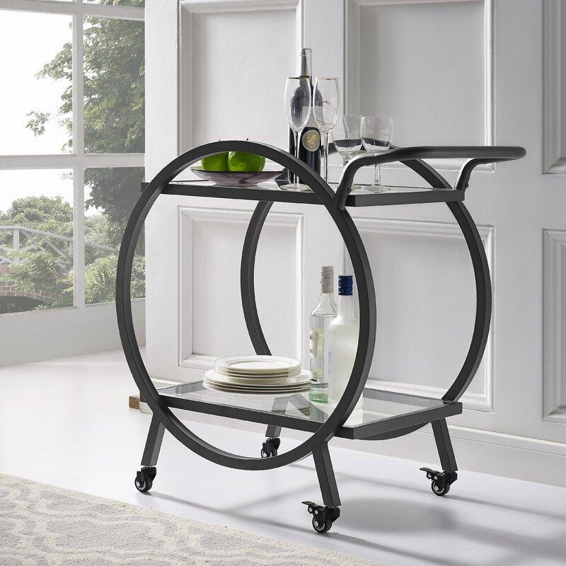 Wrought Studio Fannin Round Frame Bar Cart & Reviews | Wayfair