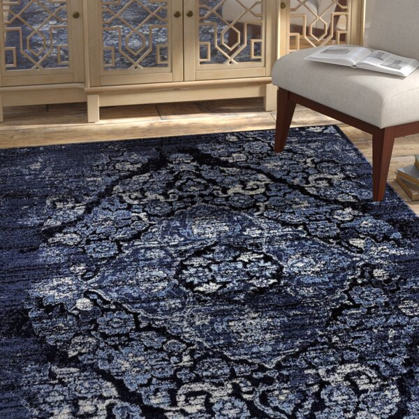 Caudill Traditional Navy Area Rug by Bungalow Rose