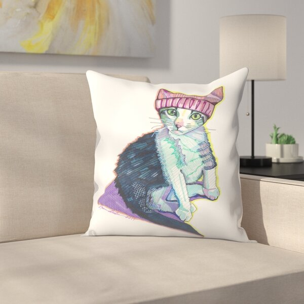 Feminist Kitty Throw Pillow by East Urban Home