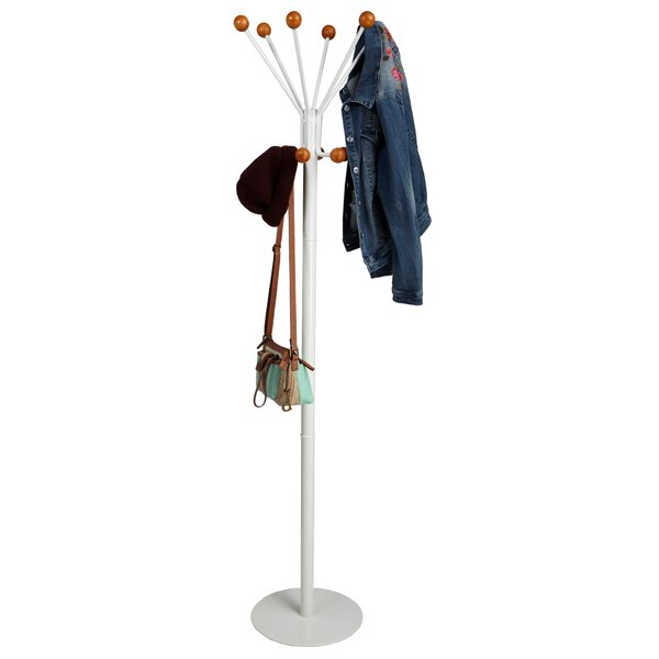Free Standing 12 Hook Wooden Ball Edged Coat Rack by Mind Reader
