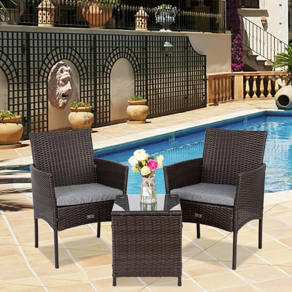 Abshire 3 Piece Rattan Seating Group with Cushions by Breakwater Bay