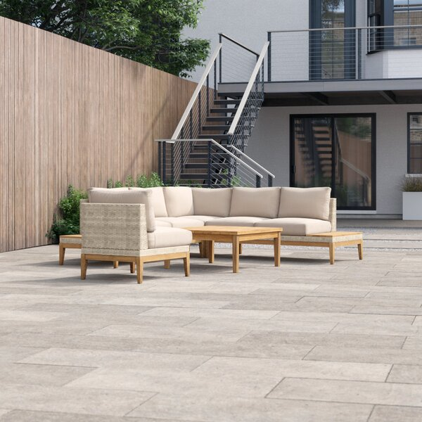 River Patio 5 Piece Sectional Seating Group with Cushions by Foundstone