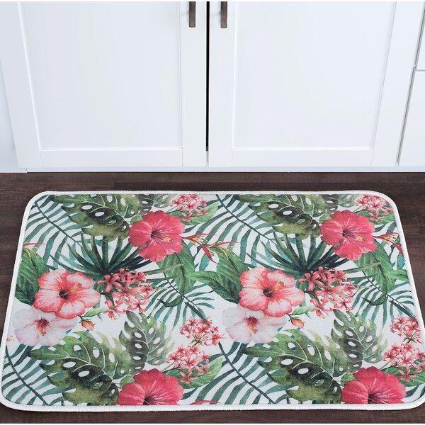 Platres Hibiscus Foam Core Bath Rug by Bay Isle Home