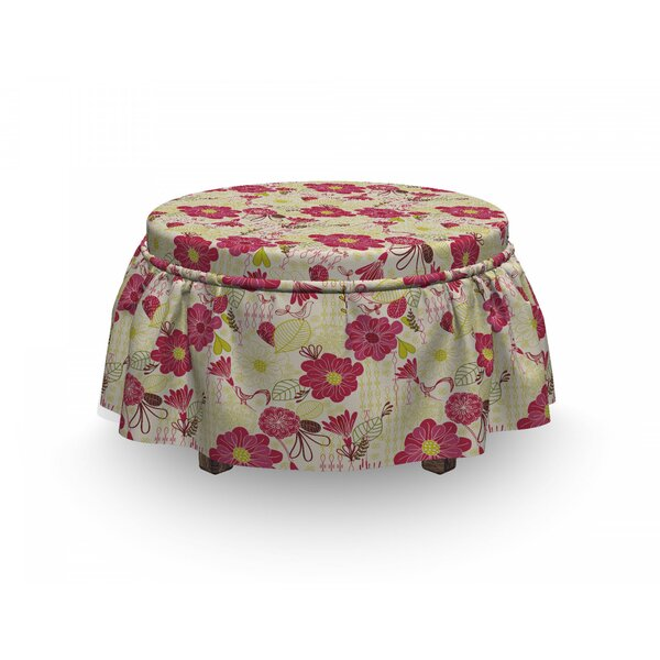Feminine Floral Garden Ottoman Slipcover (Set Of 2) By East Urban Home