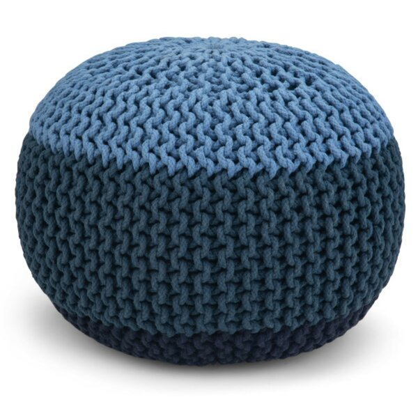 Tieman Hand Knit Round Pouf by Bungalow Rose
