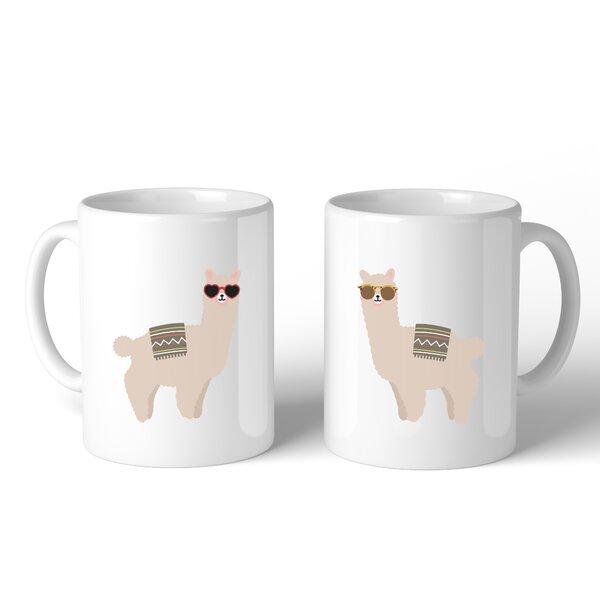 Henn Llamas With Sunglasses BFF 2 Piece Coffee Mug Set by Ebern Designs