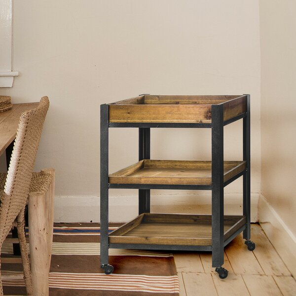 Newquay Wood Metal Rolling Storage with Shelves Bar Cart by Williston Forge Williston Forge