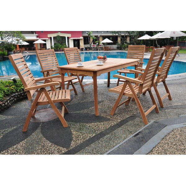 Leona Luxurious 7 Piece Teak Dining Set by Rosecliff Heights