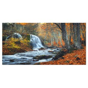 'Autumn Mountain Waterfall' Photographic Print on Wrapped Canvas by Design Art