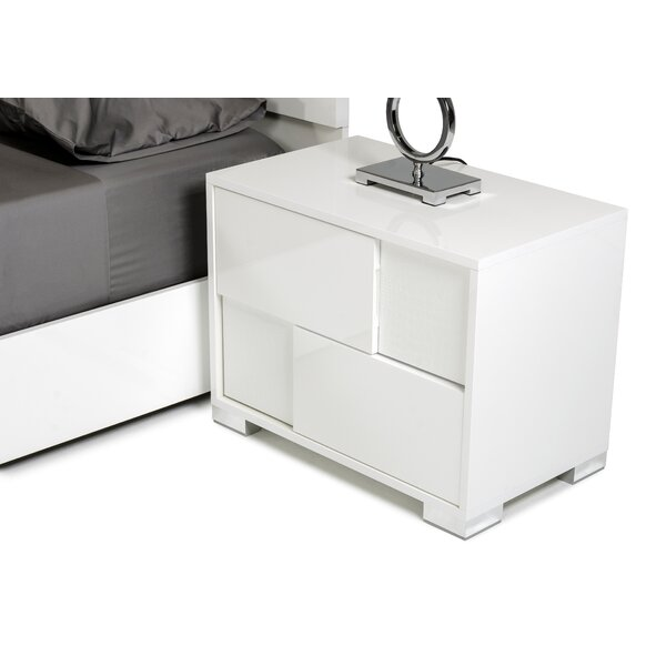 Parman Contemporary 2 Drawer Wood Top Nightstand by Orren Ellis