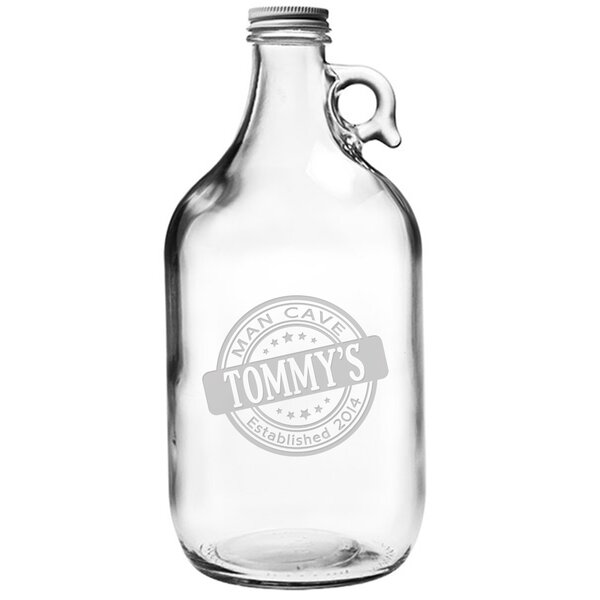 Personalized Man Cave Glass Beer Growler by Susquehanna Glass