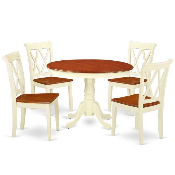 Kuhl 5 Piece Solid Wood Dining Set by August Grove