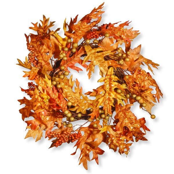 Harvest 24 Maple Leaf and Berry Wreath by National Tree Co.