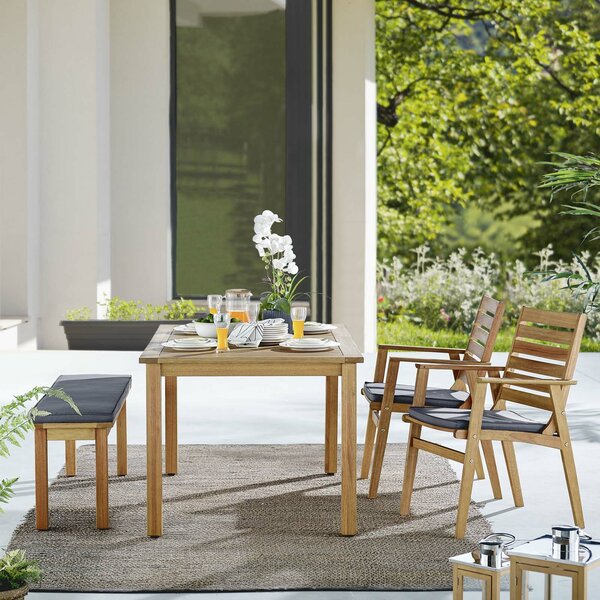 Gowins Outdoor 4 Piece Dining Set with Cushions by Highland Dunes
