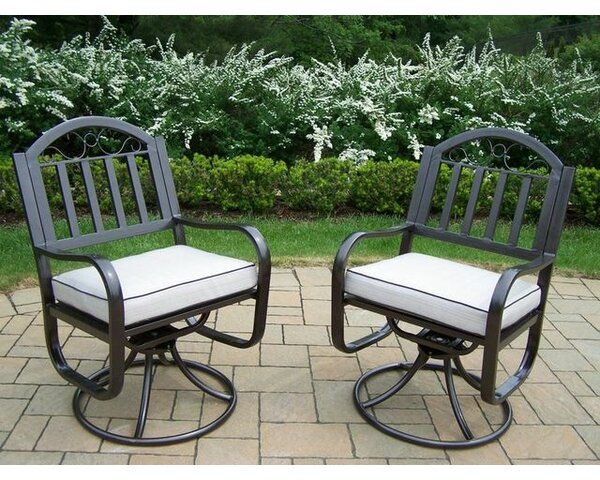 Lisabeth Swivel Patio Dining Chair with Cushion (Set of 2) by Red Barrel Studio Red Barrel Studio