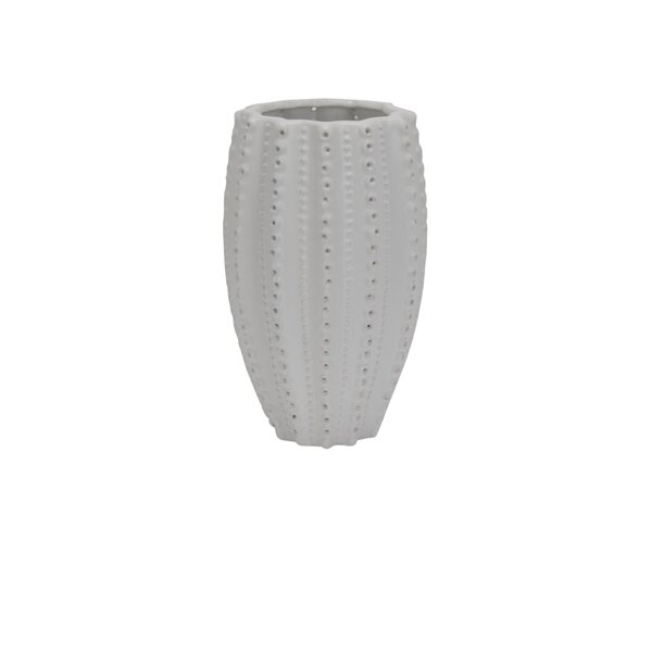 White Modern Rustic Ceramic Table Vase by Highland Dunes