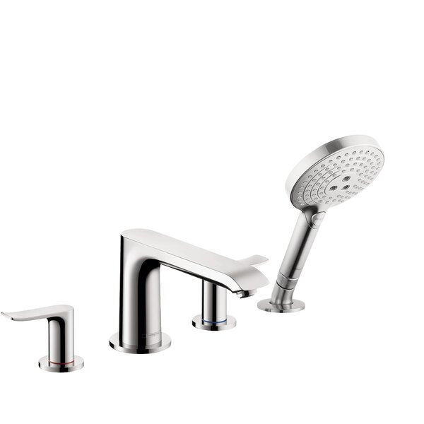 Metris Double Handle Deck Mounted Roman Tub Faucet Trim With Diverter And Handshower By Hansgrohe