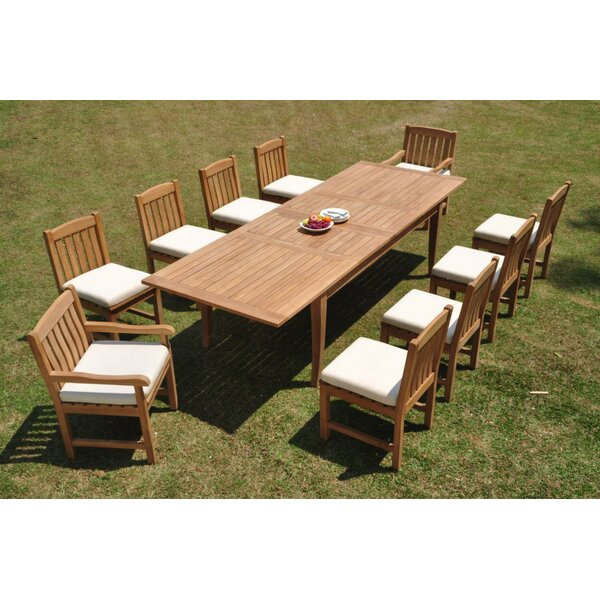 Grandview 11 Piece Teak Dining Set by Rosecliff Heights