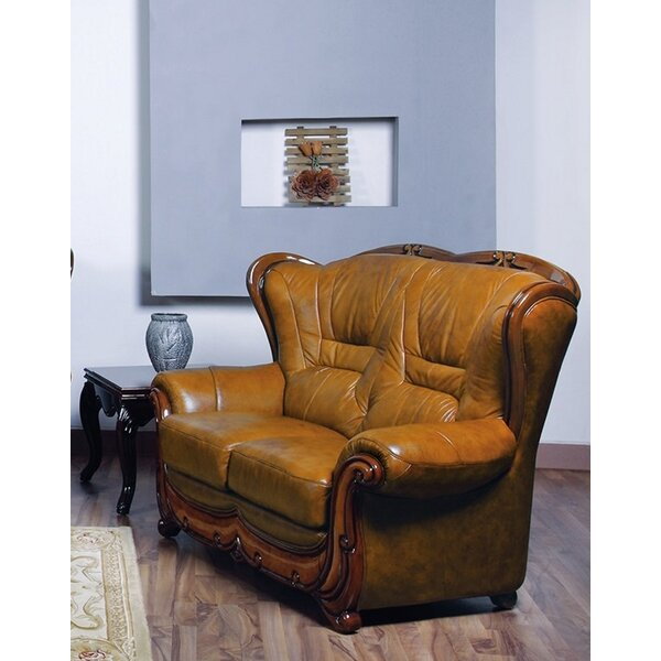 Stylish Renfrow Leather Loveseat by Canora Grey by Canora Grey