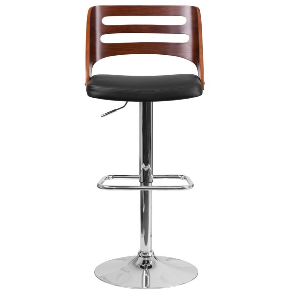 Auriga Adjustable Height Swivel Bar Stool by Ivy Bronx