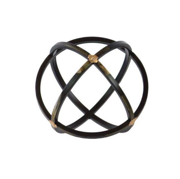 Helfrich Orb Dyson Sphere Design Metal Sculpture with 3 Circles by Brayden Studio