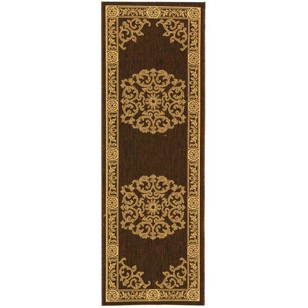 Short Chocolate / Natural Outdoor Area Rug by Winston Porter