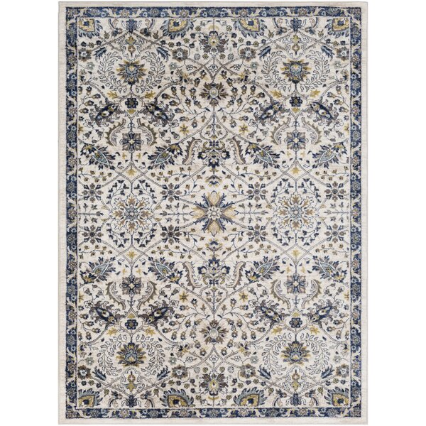 Macclesfield Floral Navy/Beige Area Rug by Charlton Home