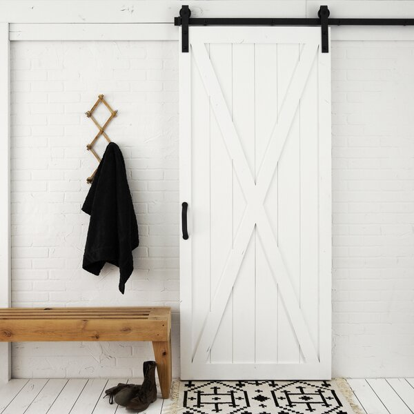 Classic X Solid Panel Wood Slab Interior Barn Door by Dogberry Collections