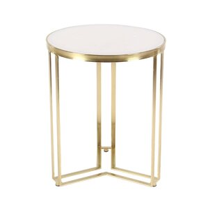Kayo Modern Round Iron and Marble End Table ..