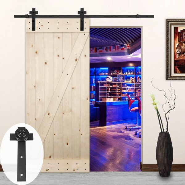 Cross Sliding Wood Track Kit Barn Door Hardware by Lubann