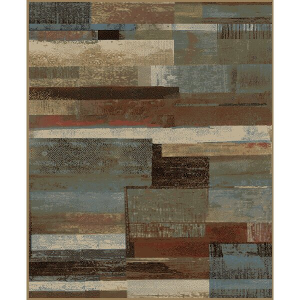 Chartier Plank Brown/Gray Area Rug by Red Barrel Studio