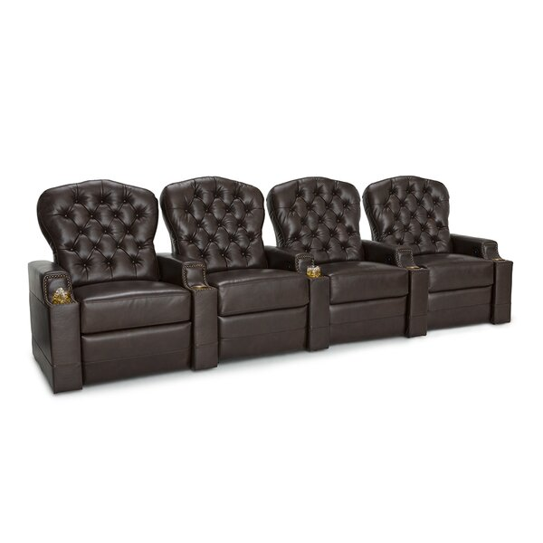 Leather Home Theater Row Seating (Row of 4) by Red Barrel Studio