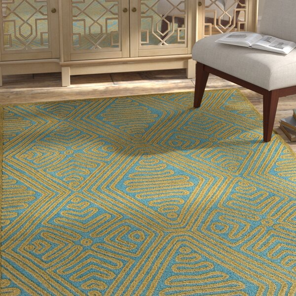 Enkhuizen Hand Woven Green/Blue Area Rug by Bungalow Rose