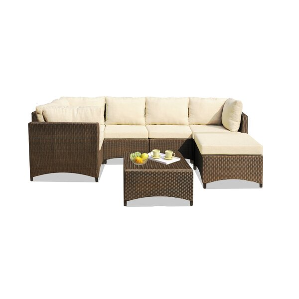 Rhys 3 Piece Rattan Sectional Seating Group With Cushions By Bayou Breeze
