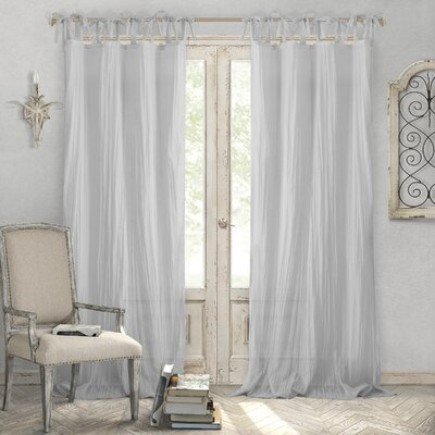 """Hippolyte Solid Semi-Sheer Tab Top Single Curtain Panel Size per Panel: 52"""" W x 108"""" L, Curtain Color: Gray"""