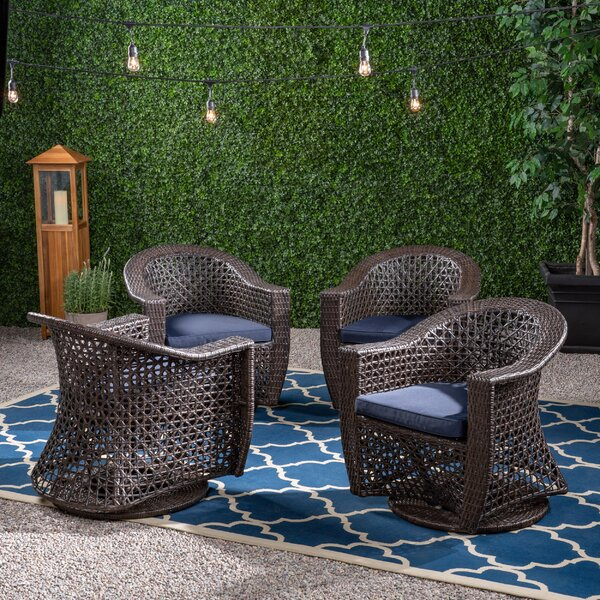Hoopes Patio Chair with Cushions (Set of 4) by August Grove