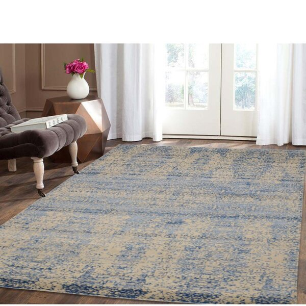 One-of-a-Kind Hamner Abstract Hand-Knotted Silk Blue Area Rug by Bungalow Rose