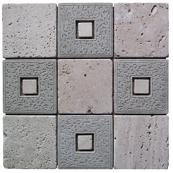 Natural Splendor 4 x 4 Natural Stone and Travertine Mosaic Tile in Gray and Tan by Intrend Tile
