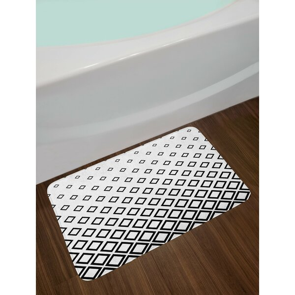 Geometric Minimalist Square Bath Rug by East Urban Home